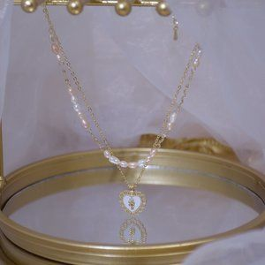 NEW 14K Gold Plated Pearl Heart Layered Necklace